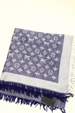 Платок Louis Vuitton синий Monogram Denim Shawl Blue