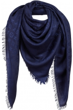 Палантин шелковый Louis Vuitton Monogram Shawl Night Blue