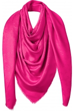 Палантин шелковый Louis Vuitton Monogram Shine Shawl Fuchsia